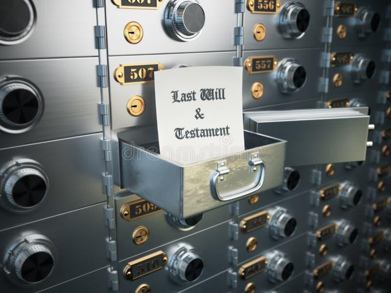 为时将和在保管箱的遗嘱 遗产concep 皇族释放例证