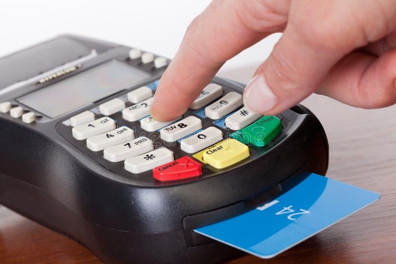 为服务与POS终端的卡片 库存图片