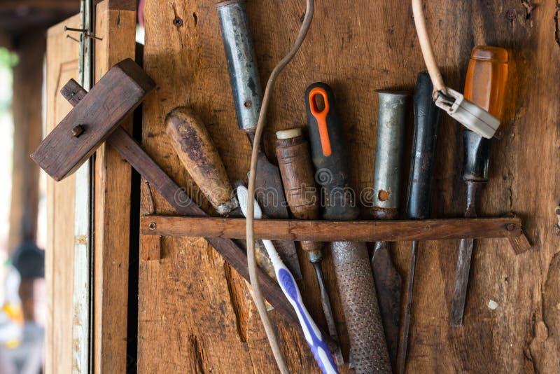 为木匠业的工具 免版税库存图片