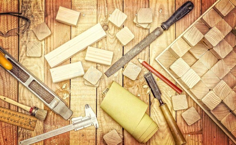 为木工作的工具 免版税库存图片