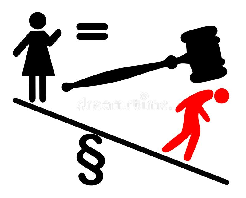 为法律平等的妇女战斗 向量例证