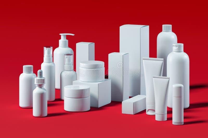 为液体设置的瓶,奶油,胶凝体,化妆水 美容品包裹 3d翻译 向量例证