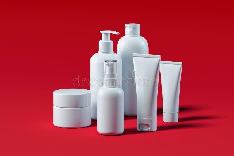 为液体设置的瓶,奶油,胶凝体,化妆水 美容品包裹 3d翻译 皇族释放例证
