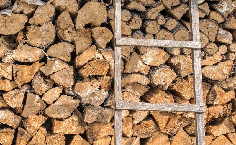 为点燃准备的木柴墙壁在冬天 免版税库存照片