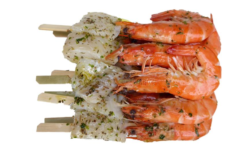 为烤肉和鱼准备的虾 免版税图库摄影