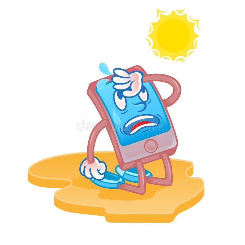为热的太阳疲倦的智能手机 库存例证