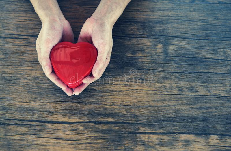 为爱情人节给拿着红心在手上的爱人捐赠帮助给爱温暖小心概念 免版税库存照片