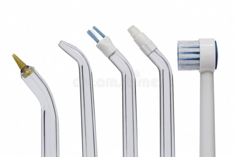 为牙齿清洁的工具,隔绝在白色背景 免版税库存照片
