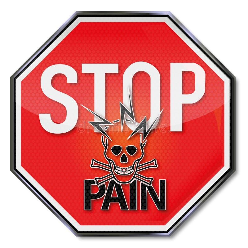 为痛苦、闪电和头骨停止 向量例证