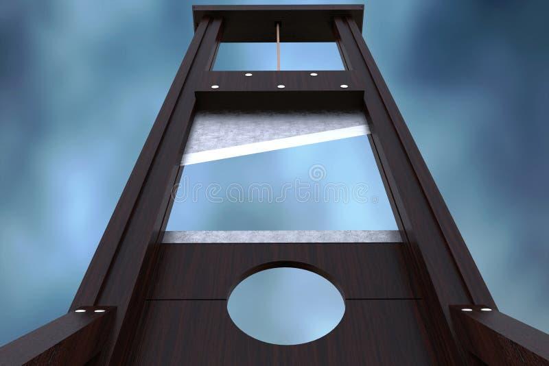为给予死刑的断头台仪器由杀头和剧烈的背景 向量例证