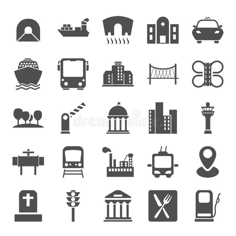 为网和流动设计设置的城市基础设施简单的象 向量例证