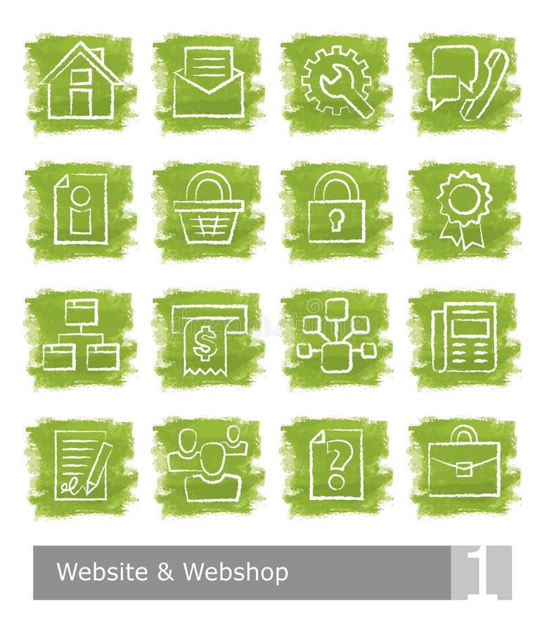为网站和网设置的传染媒介象购物;水彩按钮 皇族释放例证