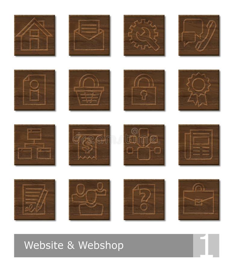 为网站和webshop设置的传染媒介象;木刻按钮 库存例证