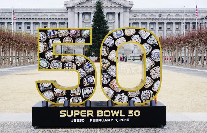 为美国橄榄球联盟超级杯签字50在旧金山湾地区将举行的2016年 库存照片