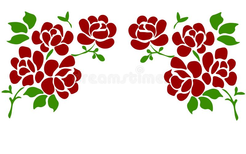 在白色隔绝的美丽的玫瑰 为背景婚礼的贺卡和邀请,生日,华伦泰的完善 库存例证