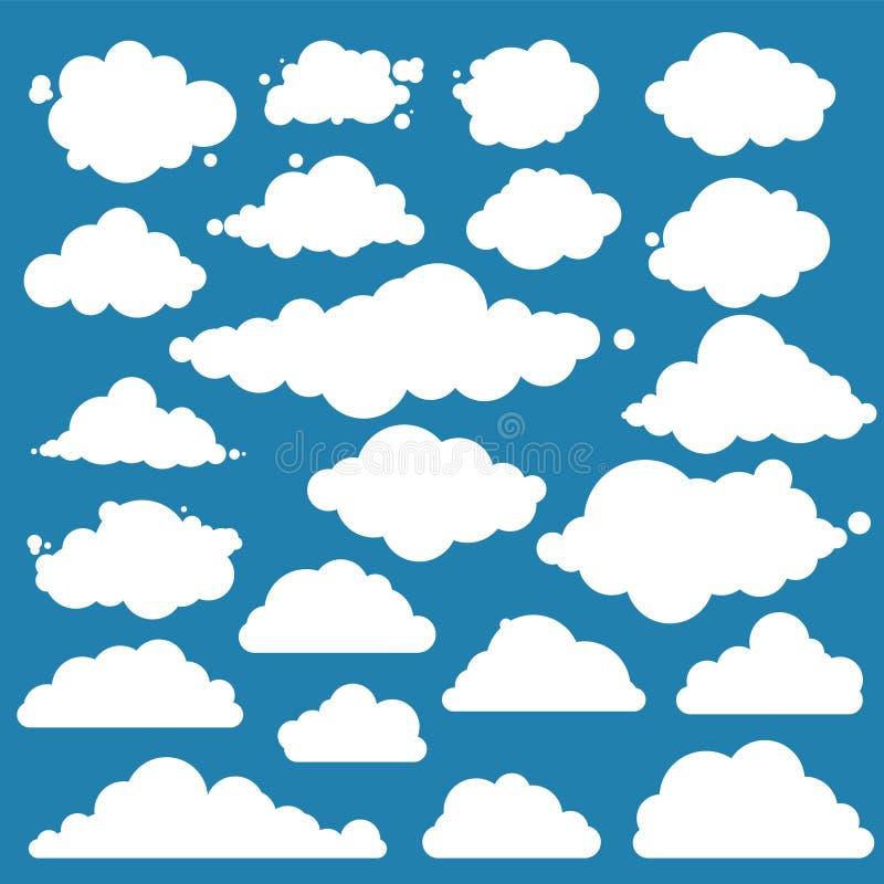 为蓝天,不同的云彩设置 平的图表传染媒介元素 向量例证