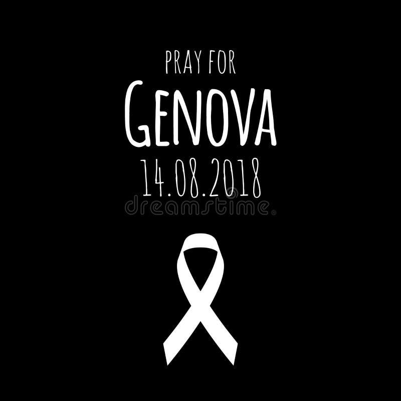 14 08 2018 - 为赫诺瓦祈祷 桥梁在意大利城市坍塌了 皇族释放例证