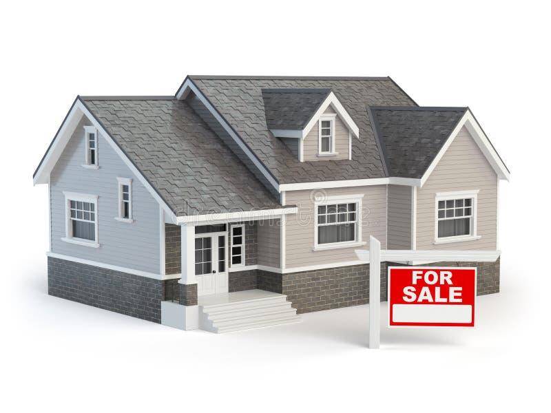 为销售在白色隔绝的房地产标志安置和 皇族释放例证