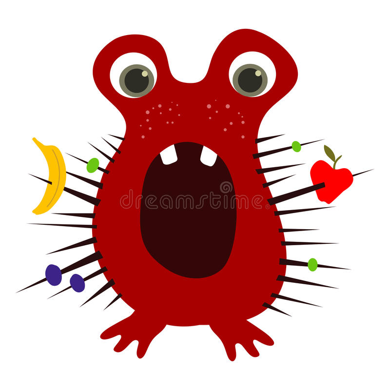 为难的逗人喜爱的绯红色小妖怪用果子在它的钉捉住了 传染媒介EPS 10 库存例证