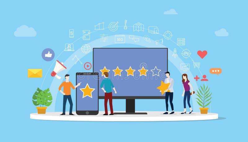为顾客回顾与人的规定值星的网上名誉管理组处理-传染媒介 库存例证
