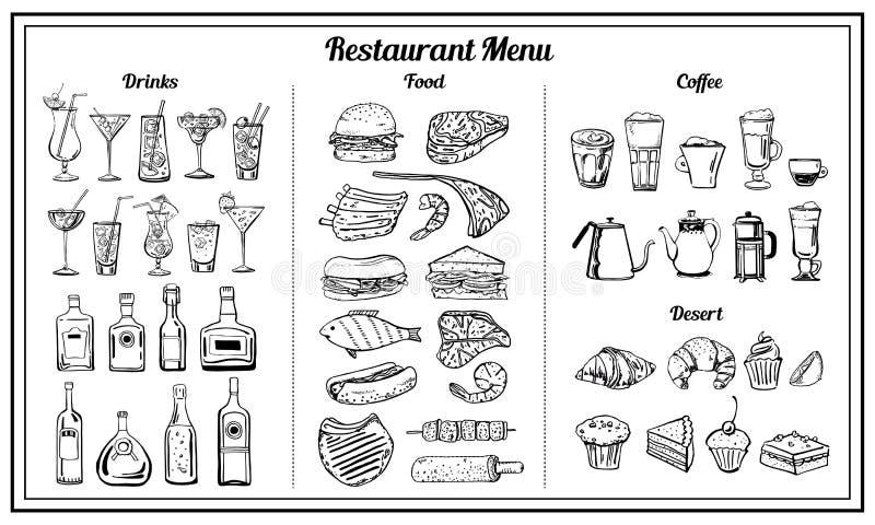 为餐馆和咖啡馆菜单设置的对象 传染媒介概述手拉的剪影例证 向量例证