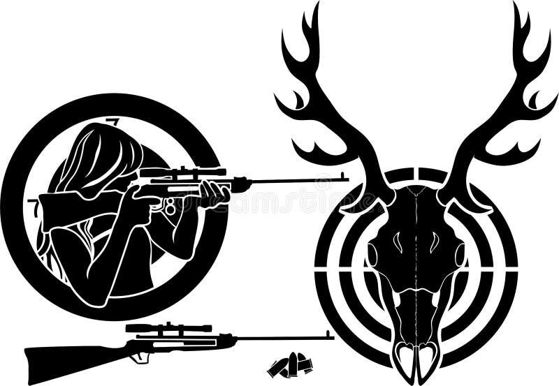 为鹿狩猎设置 向量例证