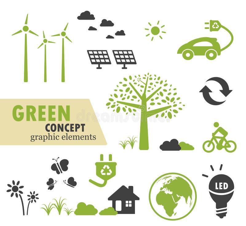 为绿色概念设置的绿色生态象 库存例证