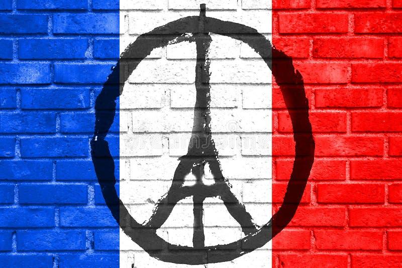为巴黎,手拉的埃佛尔铁塔,巴黎的和平祈祷在有法国旗子的砖墙上 库存例证