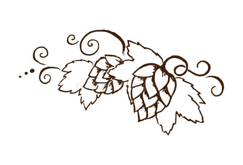 为oktoberfest或感恩天导航与叶子和藤概述例证的啤酒图片