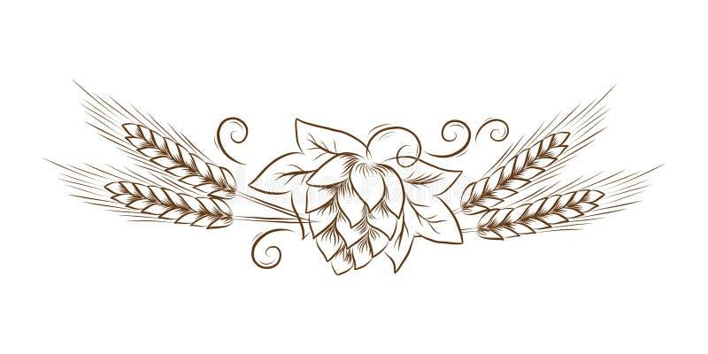 为oktoberfest或感恩天导航与叶子和麦子概述例证葡萄酒线艺术,花卉剪影的啤酒花球果树, 皇族释放例证
