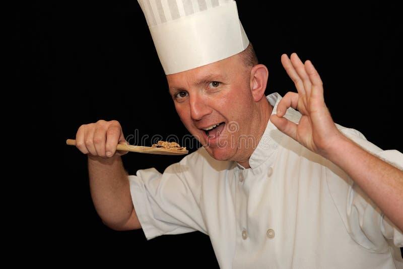 主厨可口食物品尝 免版税图库摄影