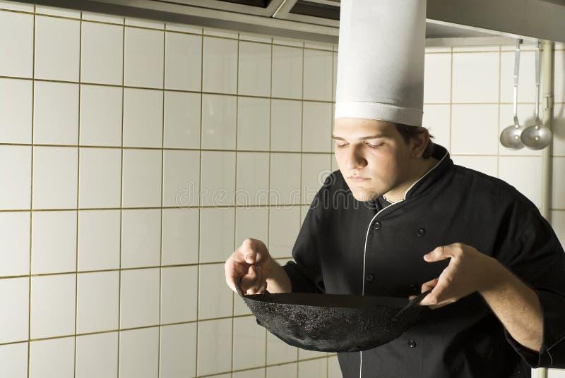 主厨嗅到 库存图片