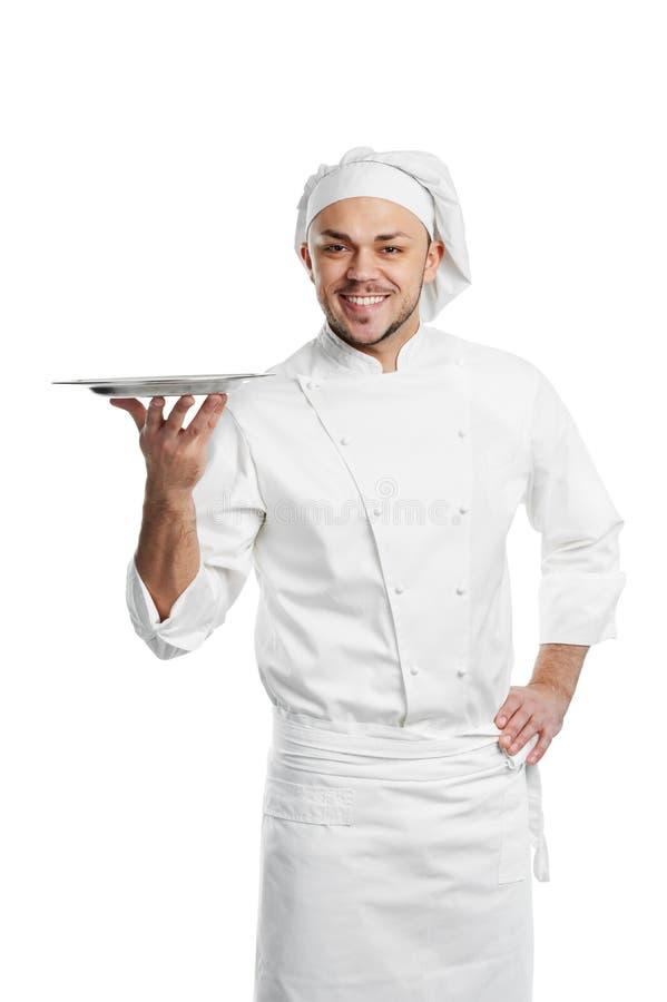 主厨愉快的查出的盘 库存照片