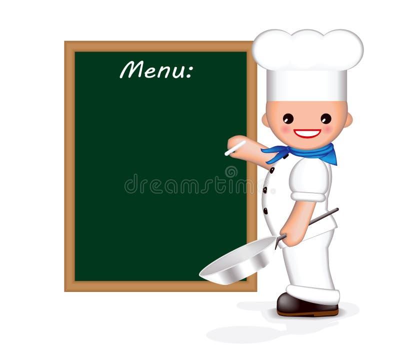 主厨愉快的菜单 库存例证