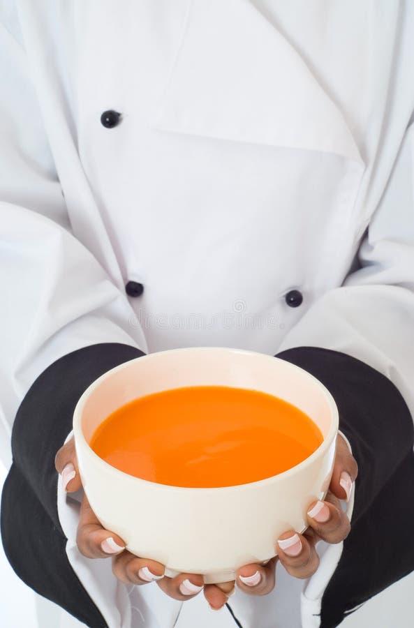 主厨服务汤 免版税库存图片