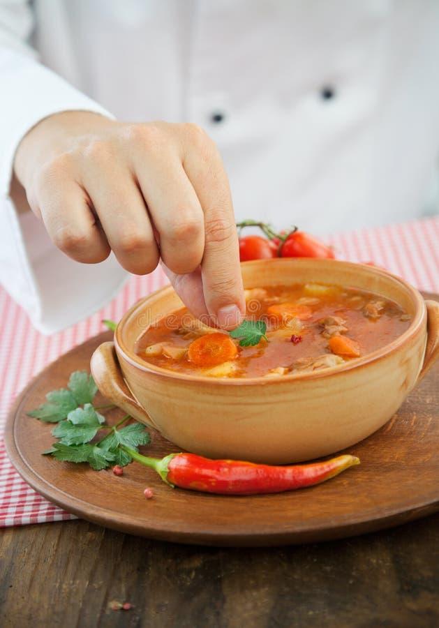 主厨用炖煮的食物 免版税图库摄影