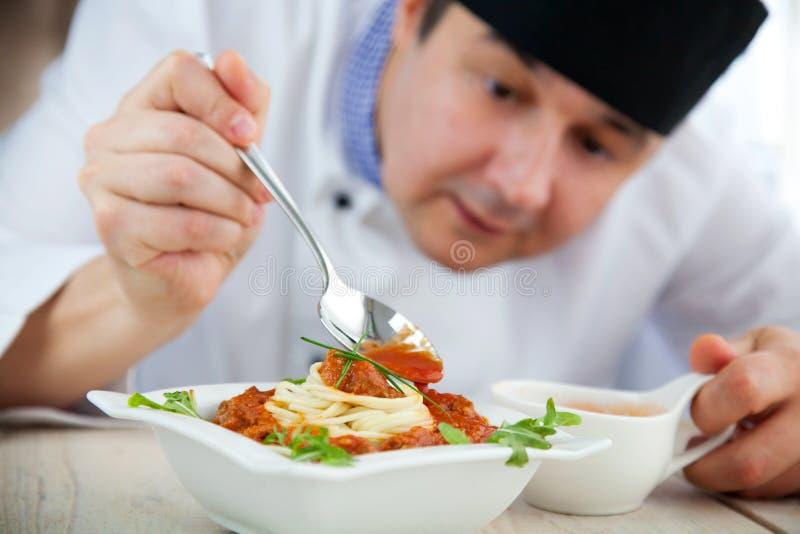 主厨男餐馆 免版税库存照片