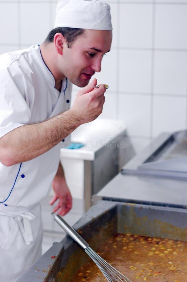 主厨食物品尝 库存图片