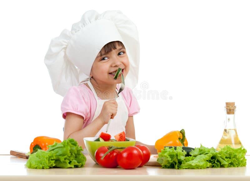 主厨食物女孩健康品尝 库存照片