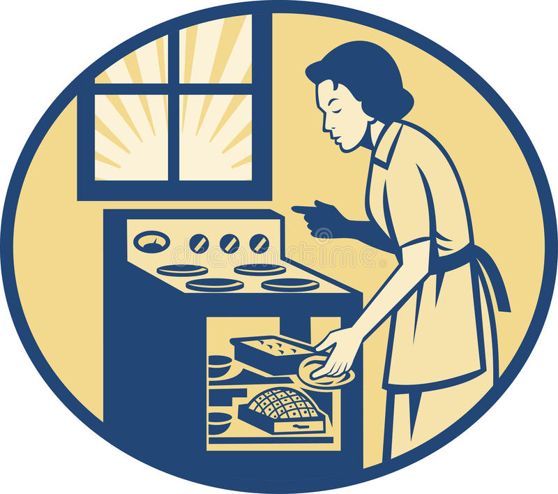 主妇在减速火箭烤箱的火炉的贝克烘烤 库存例证