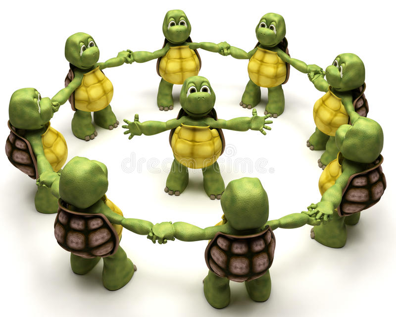 主导的小组草龟 库存例证