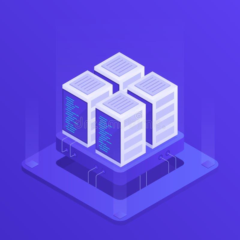 主持与云彩数据存储和服务器室的概念 服务器机架 在等量样式的现代传染媒介例证 库存例证