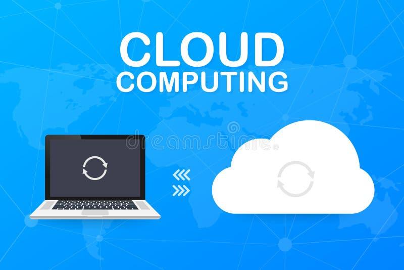 主持与计算机、智能手机和片剂,云彩计算技术的云彩概念 r 皇族释放例证
