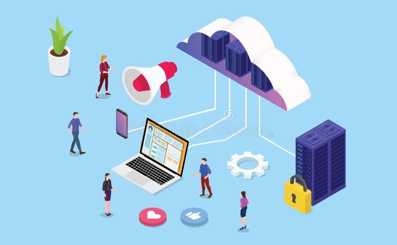 主持与队人和服务器计算机的传染媒介的等量网或网站经营业务 库存例证