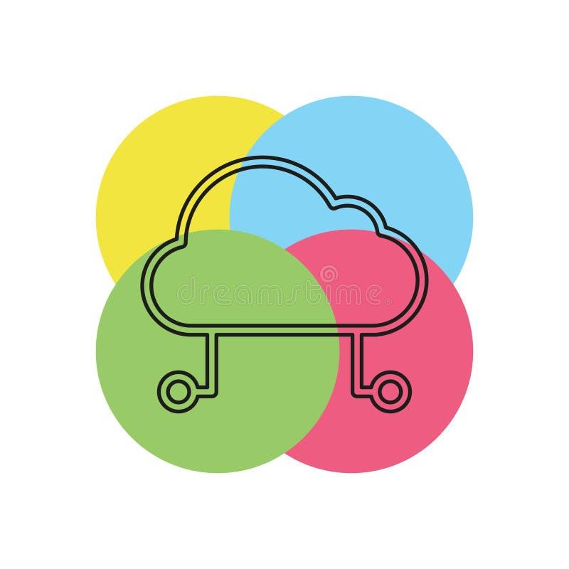 主持云彩象,云彩计算技术 向量例证