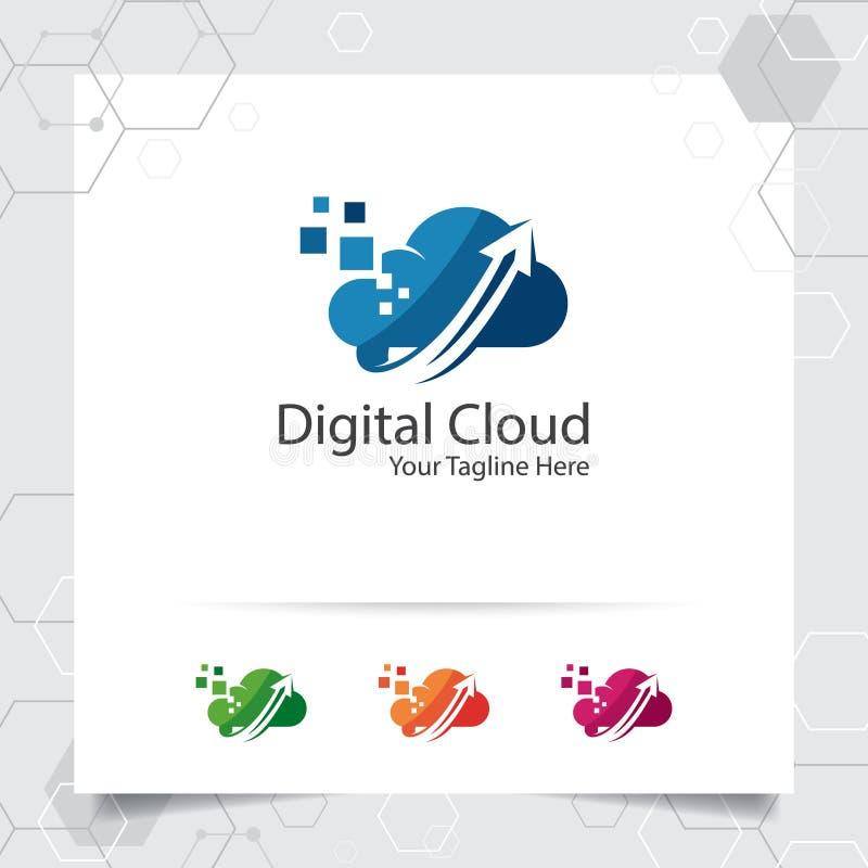 主持商标与数据加载标志的概念的云彩传染媒介设计 主持的提供者云彩计算的传染媒介例证, 向量例证