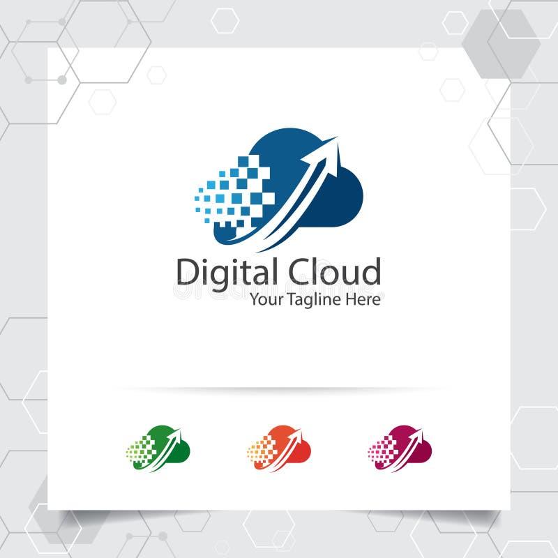 主持商标与数据加载标志的概念的云彩传染媒介设计 主持的提供者云彩计算的传染媒介例证, 库存例证