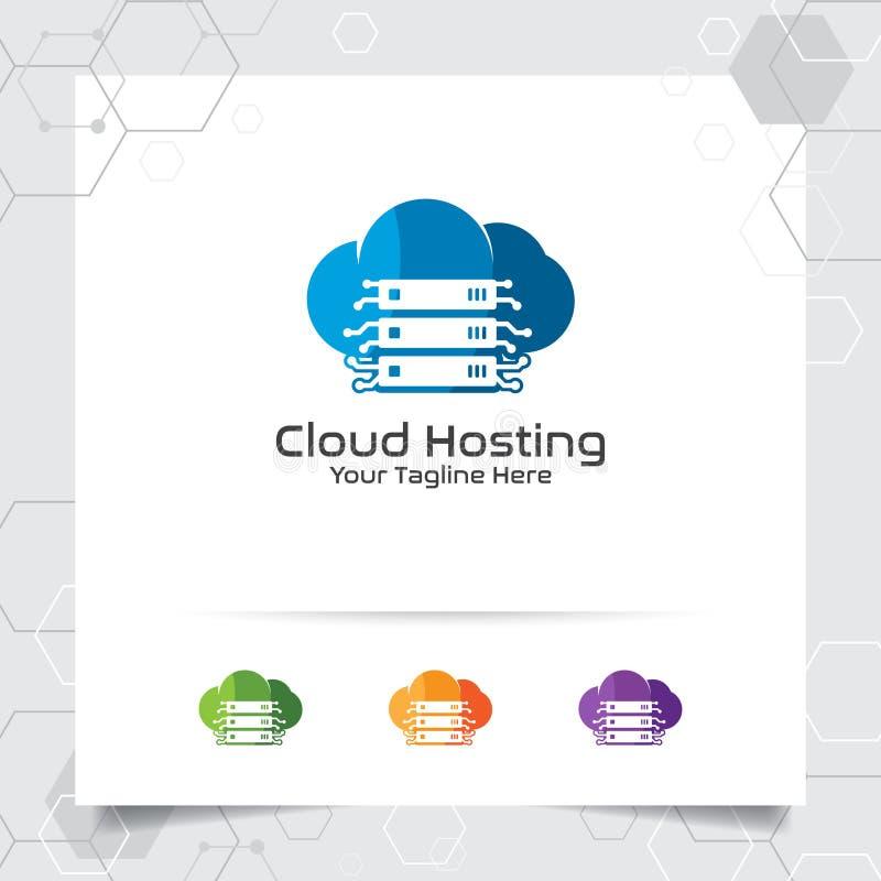 主持商标与服务器和云彩象的概念的云彩传染媒介设计 云彩服务器主持的提供者传染媒介例证, 向量例证