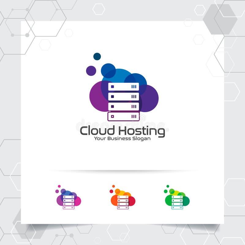主持商标与服务器和云彩象的概念的云彩传染媒介设计 云彩服务器主持的提供者传染媒介例证, 皇族释放例证