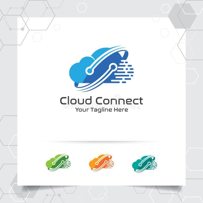 主持商标与概念的云彩传染媒介设计的数字和连接标志 主持的云彩计算的传染媒介例证 库存例证